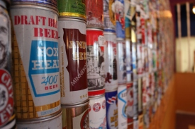 ROANOKE, Oct. 4 - MELLOW MUSHROOM: Beer cans are stacked from floor to ceiling against a wall in the new building. Photo: Katelin Frosell