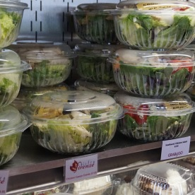 Blacksburg, Va., Feb. 25 - Grab-and-Go Options: The Y.E.S. to Go program provides a variety of salad entrees for students in the grab-and-go sections of the dining halls.