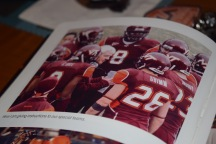 """Blacksburg, Va., Feb. 6- SPECIAL PLACES: Cody Grimm even grabbed a spot in legendary coach Frank Beamer's book """"Let Me Be Frank."""" Beamer was well known for his work with special teams, a job taken very seriously, especially by walk-ons. Photo: Blayne Fink"""