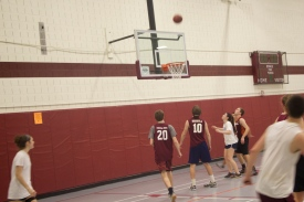 Blacksburg, Va., Feb. 23 - CoRec Competition: The great thing about intramurals at Virginia Tech is that regardless of gender and ability, you get the opportunity to play as male and female players join forces as teammates. Photo: Johnny Kraft