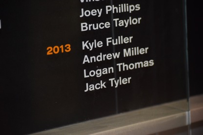 Blacksburg, Va., Feb. 6- CAPTAIN: Former Hokie walk-on Jack Tyler earned a position as captain for the 2013 Virginia Tech football season. Former walk-ons such as Will Montgomery and Willie Byrn were also given the honor. Photo: Blayne Fink