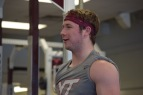 Blacksburg, Va., Feb. 6- GOOD TIMES: Laughing along with teammates during an off-season workout, Carroll was quick to note that preferred walk-ons are treated no differently among the team. Photo: Blayne Fink