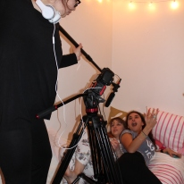 Blacksburg, Va., Feb. 23 – Do it for the Shot: Often times, student filmmakers, including Medina, must go to extreme lengths in order to capture the right shot and sound while filming. Photo: Caitlyn Murray