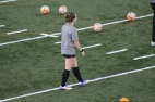 BLACKSBURG, Va., Apr. 11 - A member of the women's soccer team waits for a practice drill to begin. Photo: Conor Doherty