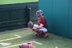 BLACKSBURG, Va., Apr. 12 - One of the catchers for the Hokies baseball team prepares to receive a pitch during practice at English Field. Photo: Conor Doherty