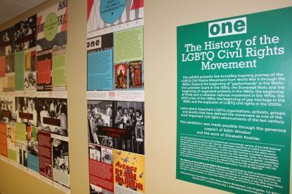 Blacksburg, Va., Oct. 22 - Honoring History: An exhibit at Newman Library on the history of the LGBTQ Civil Rights Movement. Photo: Humberto Zarco