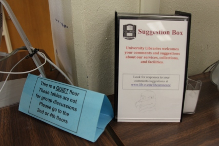 Blacksburg, Va., Oct. 22 - Constructive Criticism: A suggestion box at Newman Library, which students can use to offer feedback. Photo: Humberto Zarco