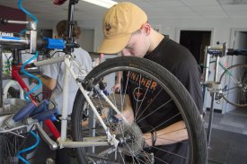 BLACKSBURG, Va., Sept. 29 - Learning how to fix your bicycle is one of the main focus points at the Bike Hub. Photo: Nathan Loprete