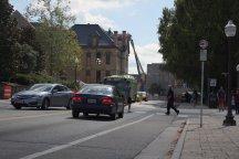 "BLACKSBURG, Va., Sept. 29 - Crosswalks and bike lanes helped Virginia Tech become a ""bicycle friendly university."" Photo: Nathan Loprete"