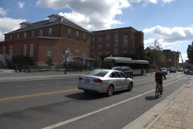 BLACKSBURG, Va., Sept. 29 - Cyclists, drivers, and buses have to interact on a daily basis around campus. Photo: Nathan Loprete