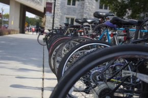 BLACKSBURG, Va., Sept. 29 - Bicycle racks on campus can be packed especially when the weather is favorable. Photo: Nathan Loprete