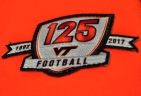 Blacksburg, Va., Nov. 9—125 Year Anniversary. VT Football jerseys have the path celebrating 125 years of the program. Beamer has currently been with the program for 34 years: three as a player, 29 as a coach and 2 as a special assistant to the Athletic Director. Photo: Drew Davis.
