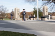 Blacksburg, Va., Nov. 10- The Rock Memorial— Two cadets stand around the perimeter of The Rock. No one is to walk inside the diamond shape in honor of the fallen Hokies. Photo: Alexis Johnson.