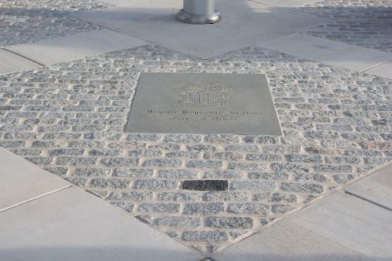 Blacksburg, Va., Nov. 10- The Rock Memorial—The darker gray stone is in memory of Cadet Matthew La Porte who was killed during the April 16 shooting. La Porte was a drummer in the Highty Tighties. Photo: Alexis Johnson.