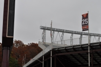 Blacksburg, Va., Nov. 9—Frank Beamer Banner. Located at the back of North End Zone, the banner honors Beamer's once retired 25-jersey number. Photo: Drew Davis.