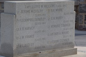 Blacksburg, Va., Nov. 10- The Rock Memorial— The names listed are of Hokies lost during World War I. These veterans fought in France between 1917 and 1919. Photo: Alexis Johnson.