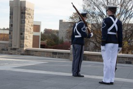Blacksburg, Va., Nov. 10- The Rock Memorial— Two cadets change positions as one cadet completes his time guarding the rock while the other prepares to stand guard. Photo: Alexis Johnson.
