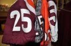 Blacksburg, Va., Nov. 9—Four Of A Kind. Beamer's No. 25 has been on four different designs in 2017. The patterns include the 2017 home, away, Hokie stone and homecoming orange. Photo: Drew Davis.