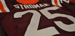 Blacksburg, Va., Nov. 9—Best So Far. Cornerback/punt returner Greg Stroman had the greatest game under the new Beamer Jersey Tradition. Rocking the No. 25, Stroman returned an 87-yard punt for a touchdown and totaled 155 All-Purpose yards against North Carolina on October 8, 2016. Photo: Drew Davis.