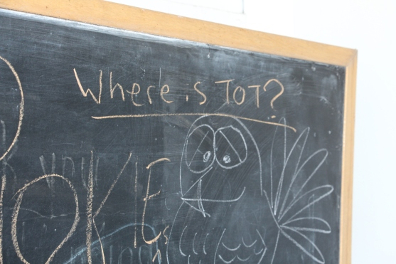 Blacksburg, Va., Nov. 30 -- Cold Turkey: A chalk drawing inquiring as to Tot's whereabouts. Photo by Harvey Creasey.