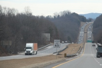 BLACKSBURG, V.a., Feb. 6 - Under Senate Bill No. 561, tractor trucks such as this one would be mandated to travel in the right-hand lane in designated areas. Photo: Cody Davis