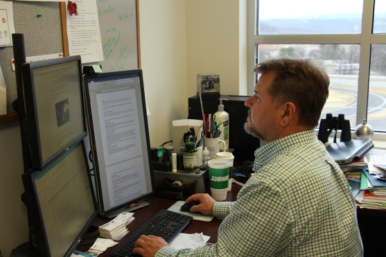 BLACKSBURG, V.a., Feb. 6 - Andy Alden works in his office at VTTI. Photo: Cody Davis