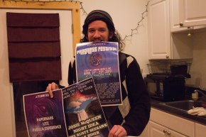 Blacksburg, Va., Feb. 2, 2018 – Old Show Posters: John Clockwood has been organizing music shows in the Blacksburg community since 2011. Many of his spring shows are used to promote and fundraise for the festival. Photo Credit: Brendan Quinn