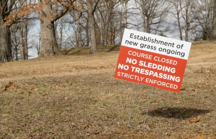 BLACKSBURG, Va., Feb. 15 - In order to protect the new grasses, trail users are asked to use the walking trails adjacent to the golf course. Photo: Alexis Walsh