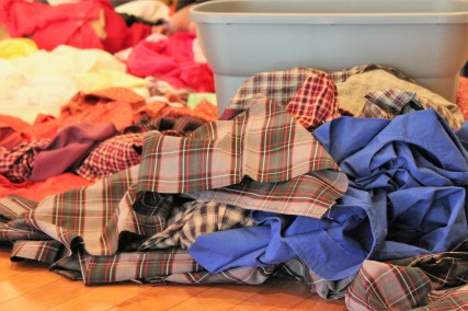 BLACKSBURG, Va., March 14 – Piled Up: It takes bolts of various fabrics to make and repair costumes for the show. Most costumes are reused from previous culture shows. Photo: Kat Schneider