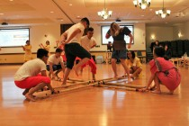 BLACKSBURG, Va., March 14 – Fancy Footwork: The most challenging dance performed is the national dance of the Philippines: Tinikling. The dance involves participants jumping over and under bamboo sticks as well as in between as they are opened and closed to the beat. Photo: Kat Schneider