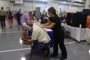 Christiansburg, Va., Sept. 19- No stress: Free therapy messages were available to visitors on a first-come, first-serve basis. Photo: Billy Parvatam