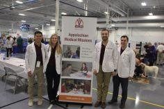 Christiansburg, Va., Sept. 19- Medical presence: VCOM medical students help promote health awareness at the fair. The school has three southern locations in Blacksburg, Auburn, and Spartanburg. Photo: Billy Parvatam