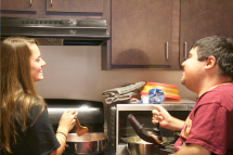 Blacksburg Va., Oct 2 - LAUGHTER IS THE BEST MEDICINE: Kelly and Lefkowitz share a giggle during their time together.