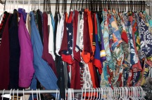 Blacksburg, Va. February 18 – Clothing Rack: Tan and Kesling started by each putting in 25 dollars for clothes and a Walmart clothing rack. Photo: Maria Berkowitz