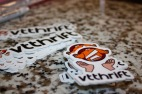 Blacksburg, Va. February 18 – Stickers: They hand out free VT Thrift stickers for laptops and phones as a way of marketing themselves on campus. Photo: Maria Berkowitz