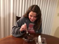 Blacksburg, Va. Feb.19, Reilly Scott enjoying the Vegan Chocolate Cake from West End Market – As a Virginia Tech senior, Reilly Scott enjoys finding new vegan options from the dining halls to maintain her dietary restrictions. Photo by: Tatjana Kondraschow