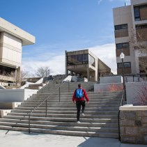 Blacksburg, Va., Feb. 18 — BURCHARD PLAZA STAIRS: The grade change from New Classroom Building to Burchard Plaza is over 100 feet. This steepness creates problems for Virginia Tech design teams to make handicap accessible routes. Photo: Loren Skinker.