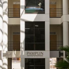 Blacksburg, Va., Feb. 18 — TOWERING ELEVATORS: Pamplin Hall's elevator accesses three different floors. As a Title II university, Virginia Tech is required to have elevators in the majority of its buildings. Photo: Loren Skinker.
