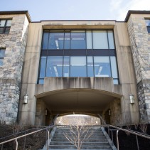 Blacksburg, Va., Feb. 18 — MORE STAIRS: Virginia Tech's campus includes over 200 buildings and hundreds of staircases. Pictured is a staircase that leads underneath Payne Hall. Photo: Loren Skinker.