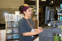 Blacksburg, Va., March 4 - Working the Register: One of the main jobs as an employee of the Dietrick Convenience Store is to work the register, as you see Leonard doing here.