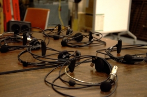 Blacksburg, Va., April 19 - Headsets: Communication between technicians, managers and directors is vital for the show to run smoothly. Headsets are used as this line of communication. Photo: Lizzy Street