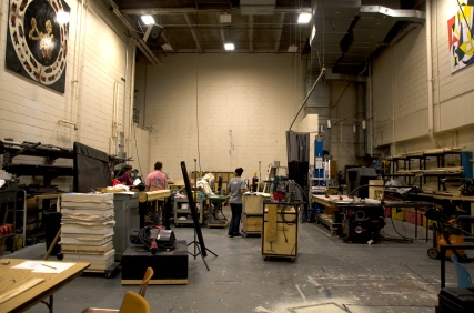 Blacksburg, Va., April 19 - Scene Shop: Sets, props and other elements for theatrical productions are put together in the scene shop, which is located behind Squires Studio Theatre. Photo: Lizzy Street